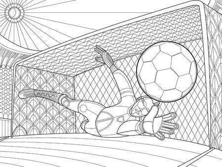 goalkeeper: Soccer goalkeeper batted ball hand Illustration
