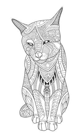 Tekening kat voor kleurboek voor volwassenen.
