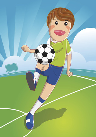 shooting at goal: Soccer man Shooting. The Ball To Make A Goal. football. cartoon character illustration. Illustration