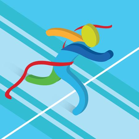 athletics: Finish Line Running icon Athletics. 3D Isometric Winner Runner Athlete.