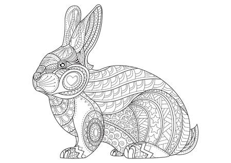 Malvorlage Kaninchen Hand Gezeichnete Weinlesegekritzel