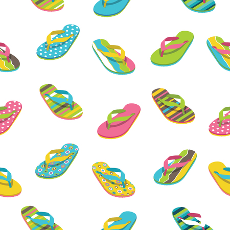 Casual sandals pattern. Flip flop seamless pattern. Summer vacation background.
