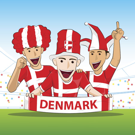 danish flag: Fans of Denmark national football team, sports. vecor illustration.