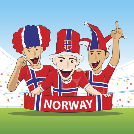 team sports: Fans of Norway national football team, sports. vecor illustration. Vectores