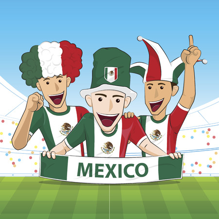 sport fan: Illustration Mexico Sport Fan Cheer Illustration