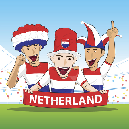 netherland: Fans of Netherland Holland national football team, sports. vecor illustration. Illustration