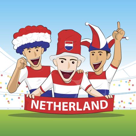 vecor: Fans of Netherland Holland national football team, sports. vecor illustration. Illustration