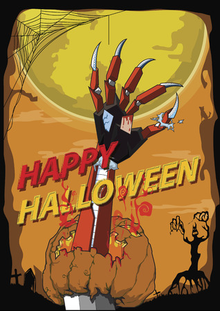 Happy Halloween hand robot kill pumpkin background Illustration