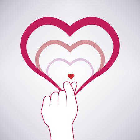 heart symbol on finger