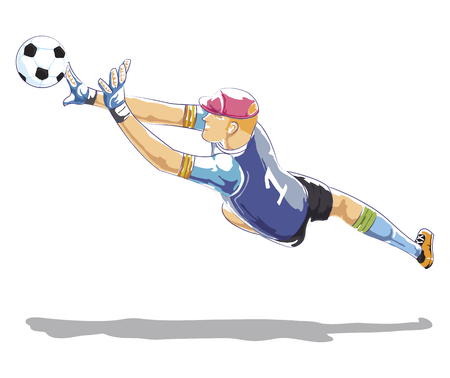 Soccer Goalkeeper Protecting gates. goalkeeper catches the ball flying. flat illustration