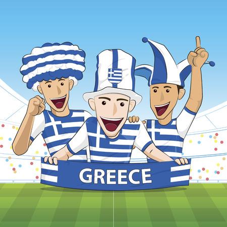 sport fan: Illustration Greece Sport Fan Cheer