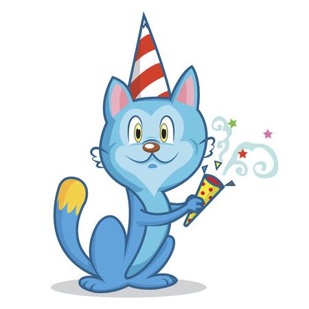 Funny blue cat celebrates birthday cartoon Illustration