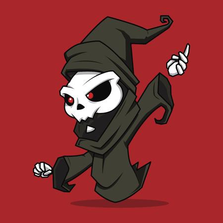 guadaña: Ghost Wizards personaje de dibujos animados aislado en un fondo rojo. personaje de la muerte de Halloween