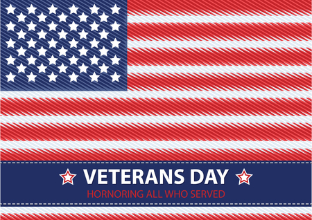 honoring: Veterans Day. Honoring all who served. Usa flag on background. Illustration
