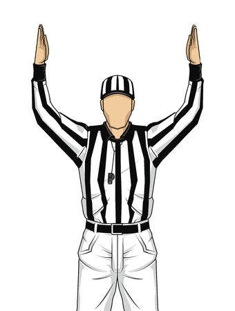 American football referee with both hands up as a touchdown on isolated