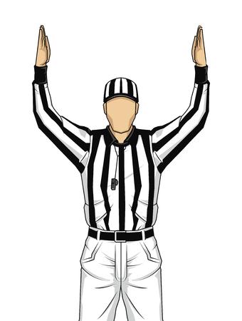 American football scheidsrechter met beide handen omhoog als een touchdown op geïsoleerde