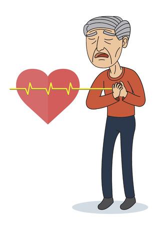 Vector Illustration of Old man having Chest Pain Ilustração