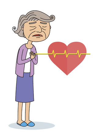 chest pain: Illustration of Old women having Chest Pain, Heart Burn, Heart Attack Cartoon Character