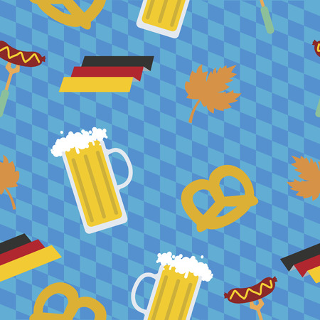 fest: Oktoberfest beer festival pattern. Germany fest illustration Illustration