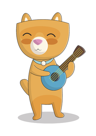 cute illustration with smiling cat, cute cat playing the ukulele Illustration