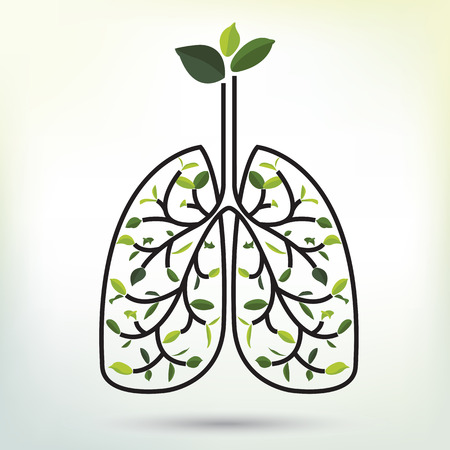Lungs with Green leaf. Black outline illustration. Human lungs. Medical flat illustration. Health care. Tree branches like the lungs. Branches with leaves.