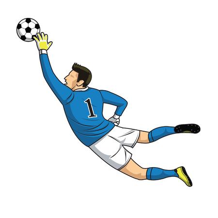 arquero futbol: portero de fútbol atrapa el balón en el fondo blanco Vectores