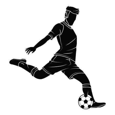 孤立した上にボールとフットボール (サッカー) プレーヤー シルエット。ベクター EPS 10