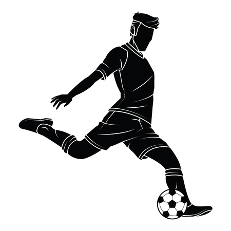 Football (soccer) player silhouette with ball on isolated. Vector EPS 10