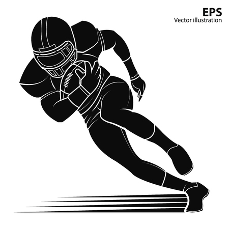 nfl helmet: American football player running with the ball. silhouette Vector illustration.
