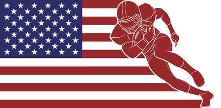 nfl helmet: American football sign. A player running with the ball on flag background. Vector Illustration. Illustration