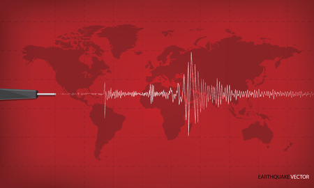 polygraph: Seismic activity graph showing an earthquake on world map background. red tone art design. Vector illustration.