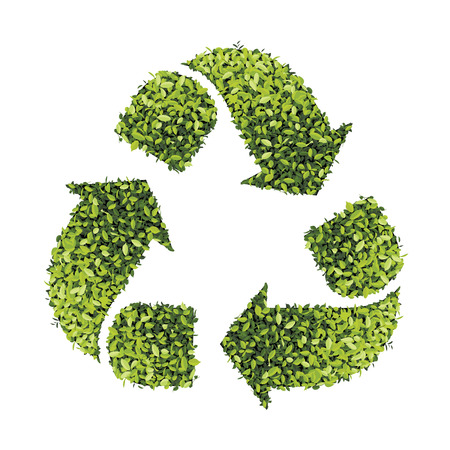 recycle symbol: Recycle symbol with leaf texture isolated on white Illustration