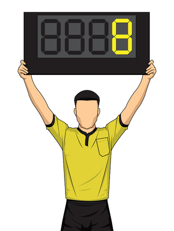Football referee shows extra time, the soccer players change. Vector illustration.