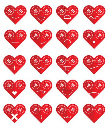 Emoticons heart set. Emoji glasses heart vector illustration.
