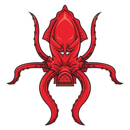 red octopus, for logo, mascot, ocean life concept, vector illustration, sea monster