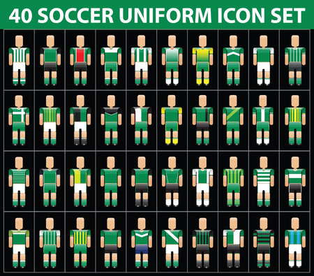 breen: 40 soccer football breen uniform icon set. vector illustration Illustration