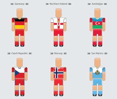 soccer (football) player flag europe uniform icon group c. germany, northern ireland, azerbaijan, czech republic, norway, san marino. vector illustration. Illustration