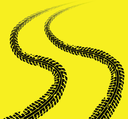Detail black tire tracks on yellow background, vector illustration