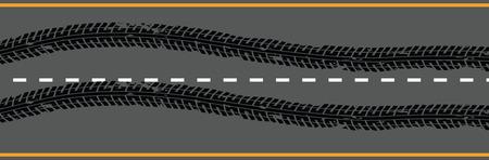 Emergency braking tracks on the road.