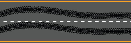 Emergency braking tracks on the road.