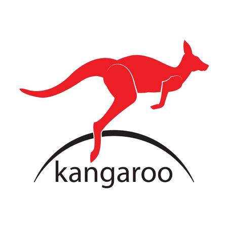 Kangaroo red jump Logo. icon with the image of a kangaroo. Vector illustration.