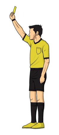 voetbalscheidsrechter die gele kaart toont. scheidsrechter op voetbalwedstrijd blijkt fout. vectorillustratie met sport karakter.