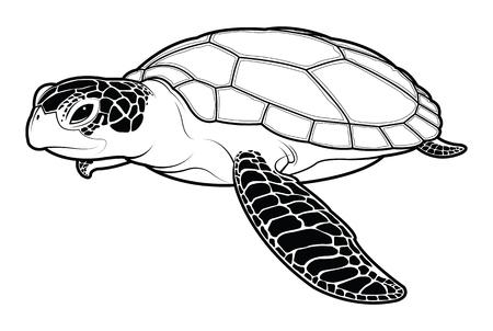 Sea turtle animal cartoon. silhouette vector illustration.