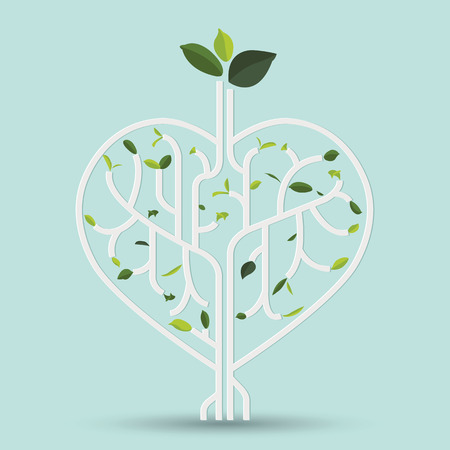 Shape heart with green leaf gray outline vector illustration tree branches like the heart branches with leaves.