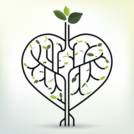 Shape heart with green leaf black outline vector illustration tree branches like the heart branches with leaves. Illustration