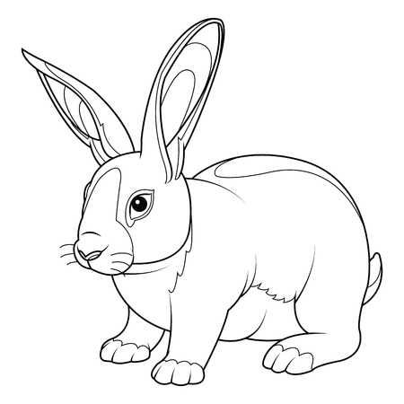 Coloring Page rabbit. Hand Drawn vintage doodle bunny vector illustration for Easter.