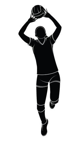 Siluetta di un'illustrazione femminile del giocatore di pallavolo. Vettoriali