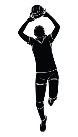 Silhouette of a female volleyball player illustration.