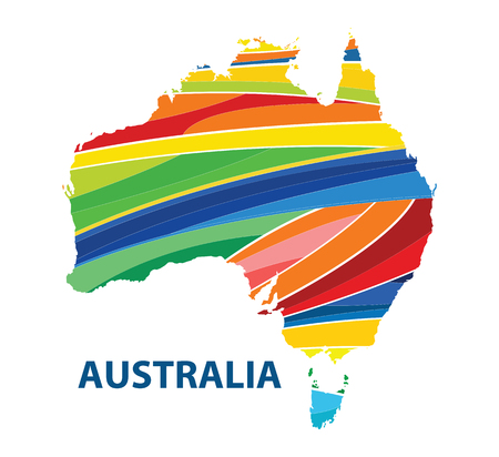 Stylized map of Australia with abstract color stripes.vector illustration.