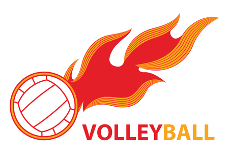 Fire volleyball. Flame ball. logo game sport team. vector illustration.